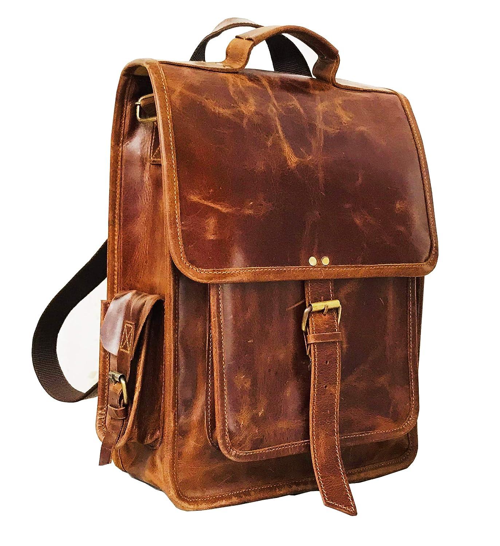 Men s Leather Vintage Roll On Laptop Backpack Rucksack One Size Brown