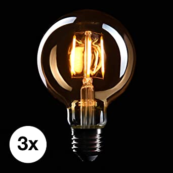 3 xVintage Edison Globe Light Bulb 40w Large Squirrel Cage Globe 80mm E27 ES Dimmable