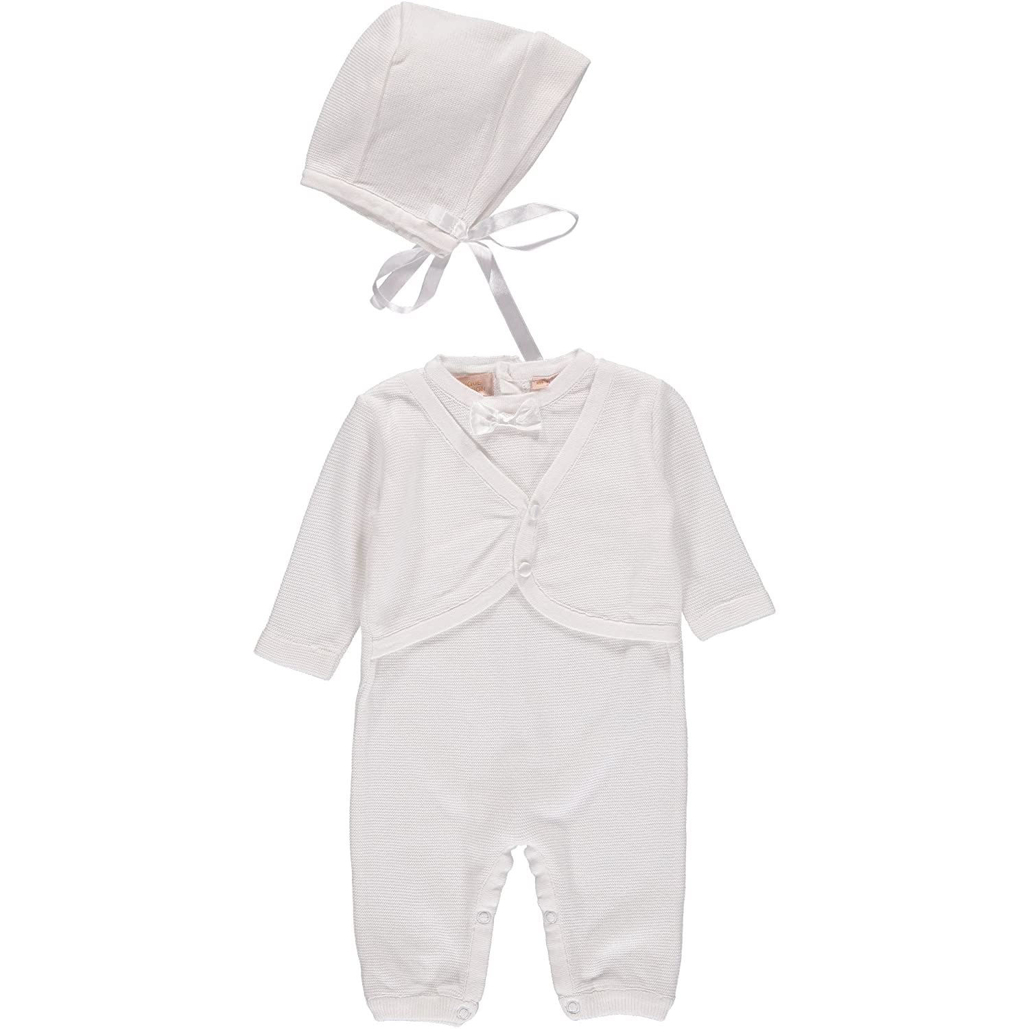 Boutique Collection Baby Boys' Christening Outfit with Attached Vest and Matching Bonnet