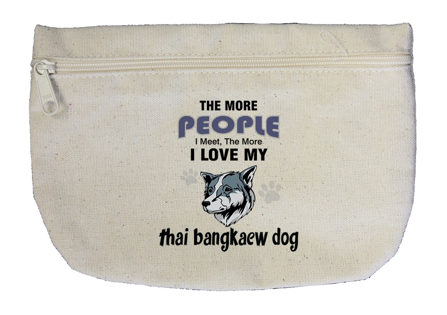 Canvas Zipper Pouch Bag More People Meet Love Thai Bangkaew Dog Style In Print by Style in Print