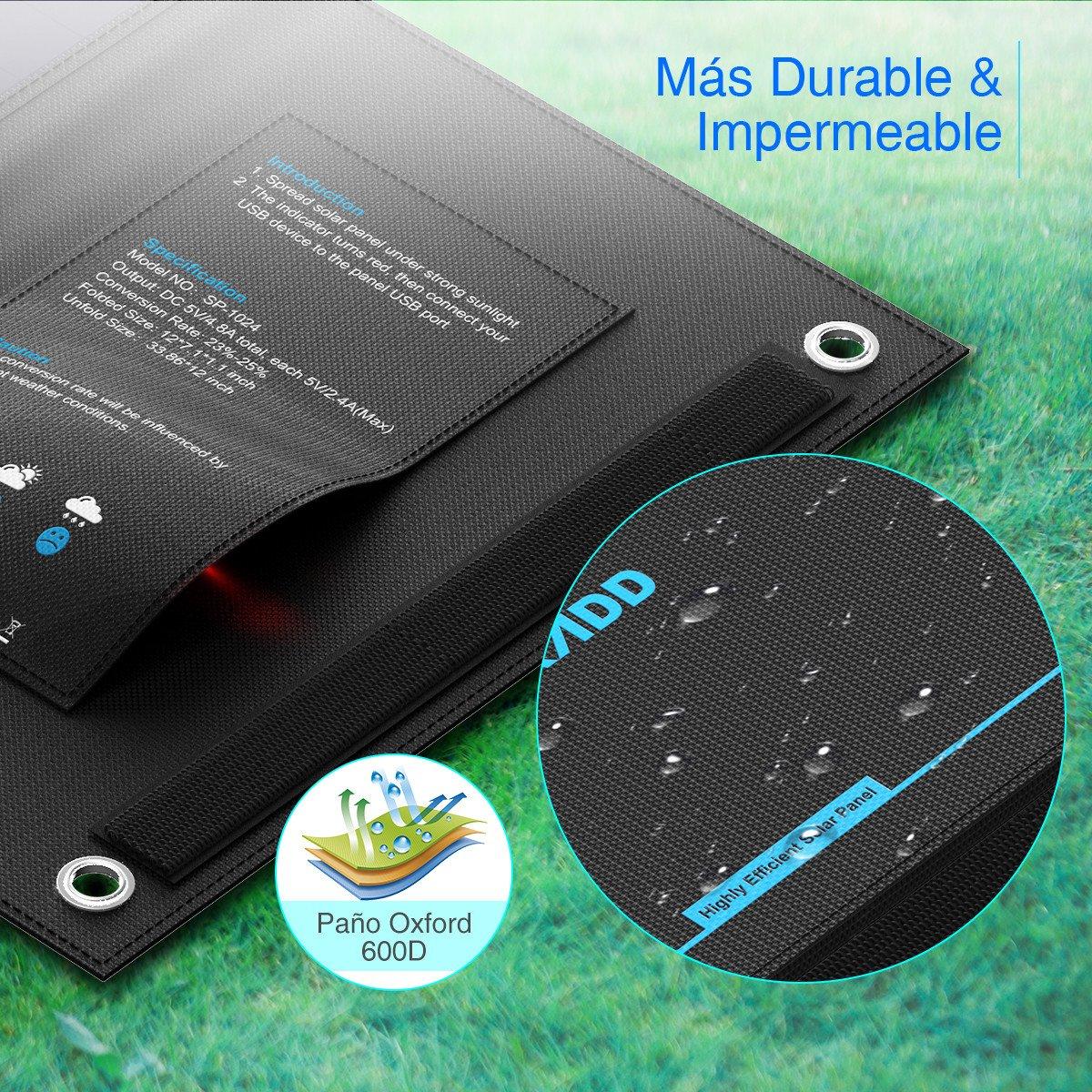 POWERADD Panel Solar 24W Portatil Cargador Solar Plegable con 2 USB de Salida Puertos 5V/2.4A para Dipositivos Móviles USB Recargables