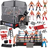 Liberty Imports 32-Piece Mini Wrestling Playset with Action Figures and Accessories - Kids Toy with Realistic Wrestlers…