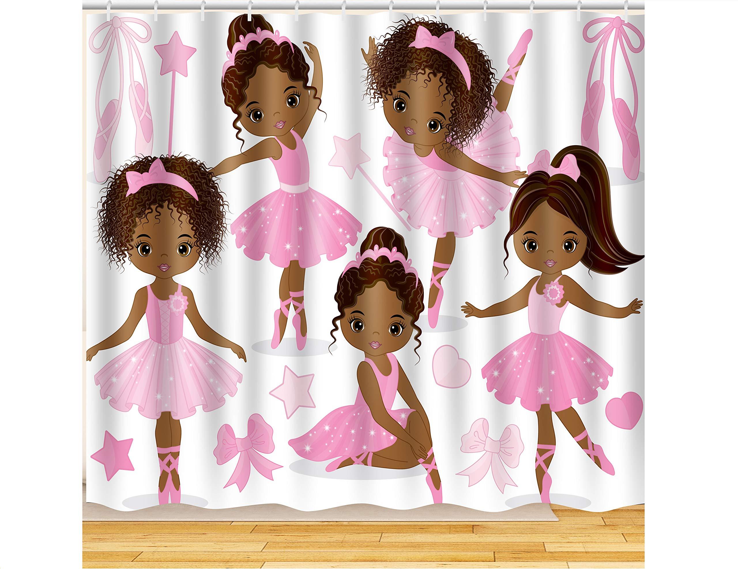 ArtRena Quality Fabric Shower Curtain, Dark-Skinned, Black Girl Ballerinas, Waterproof and Mildew Resistant, 71'' x 71''
