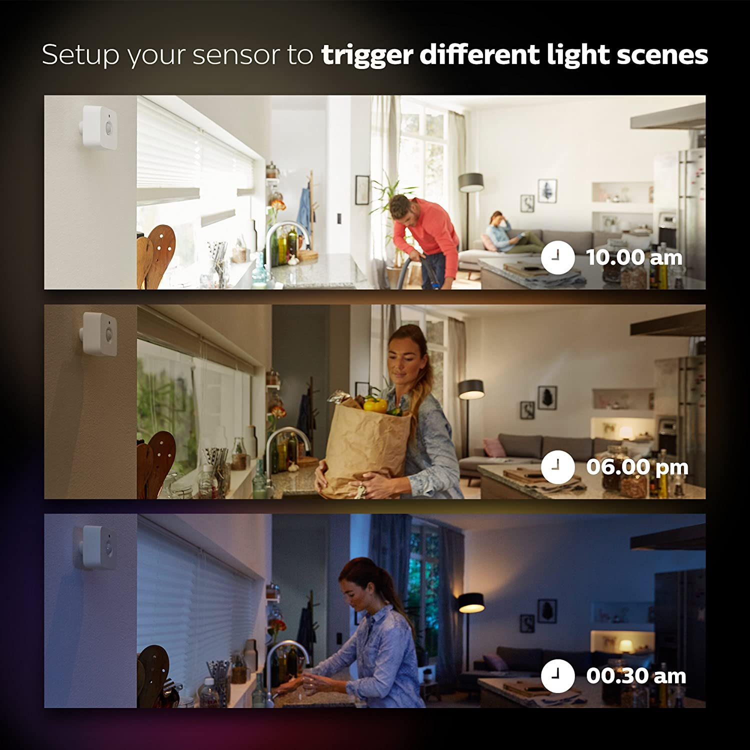 Philips Hue Smart Motion Sensor Installation-Free Exclusive for Philips Hue Lights