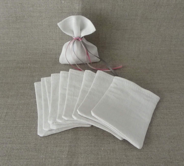sacs sachets à dragées pochettes pochon LIN fin ancien BLANC (reflets gris) 7,5 x 10 cm SANS cordon ou ruban cadeau invité à customiser à décorer pour baptême mariage communion LOT DE 10