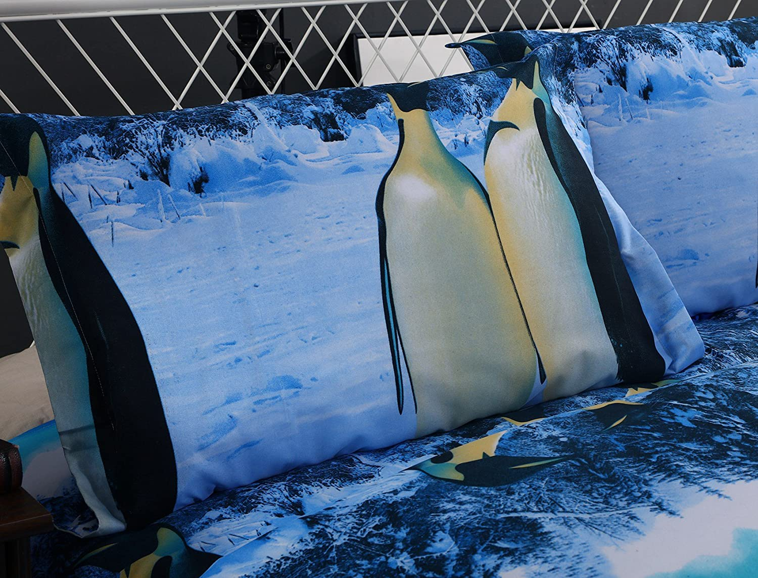 Twin Wowelife 3D Penguin Bedding Twin Kids Duvet Cover Sets Snow Scene Forest Print Pattern 4 Pieces for Boys and Girls