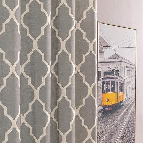 jinchan Moroccan Tile Design Linen Curtain Textured Lattice Curtain Grommet Top Window Panels Drapes for Bedroom Living Room Window Patio Door Set of 2 50 Inch x 108 Inch Charcoal Grey