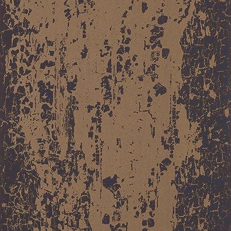 Onyx Black Copper Gold  Eglomise Leonida Harlequin Wallpaper