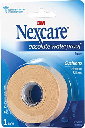 Nexcare Absolute Waterproof First Aid Tape, Tears Easily, 1 Roll