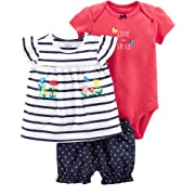 Carter's Baby Girls' 3 Piece Bodysuit and Diaper Cover Set 3 Months