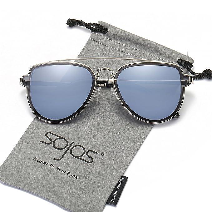 SOJOS Gafas De Sol Hombres Mujeres Unisex Aviator Clásico Doble Puente SJ1051 Marco Plateado/Lentes Gris-Azul: Amazon.es: Ropa y accesorios
