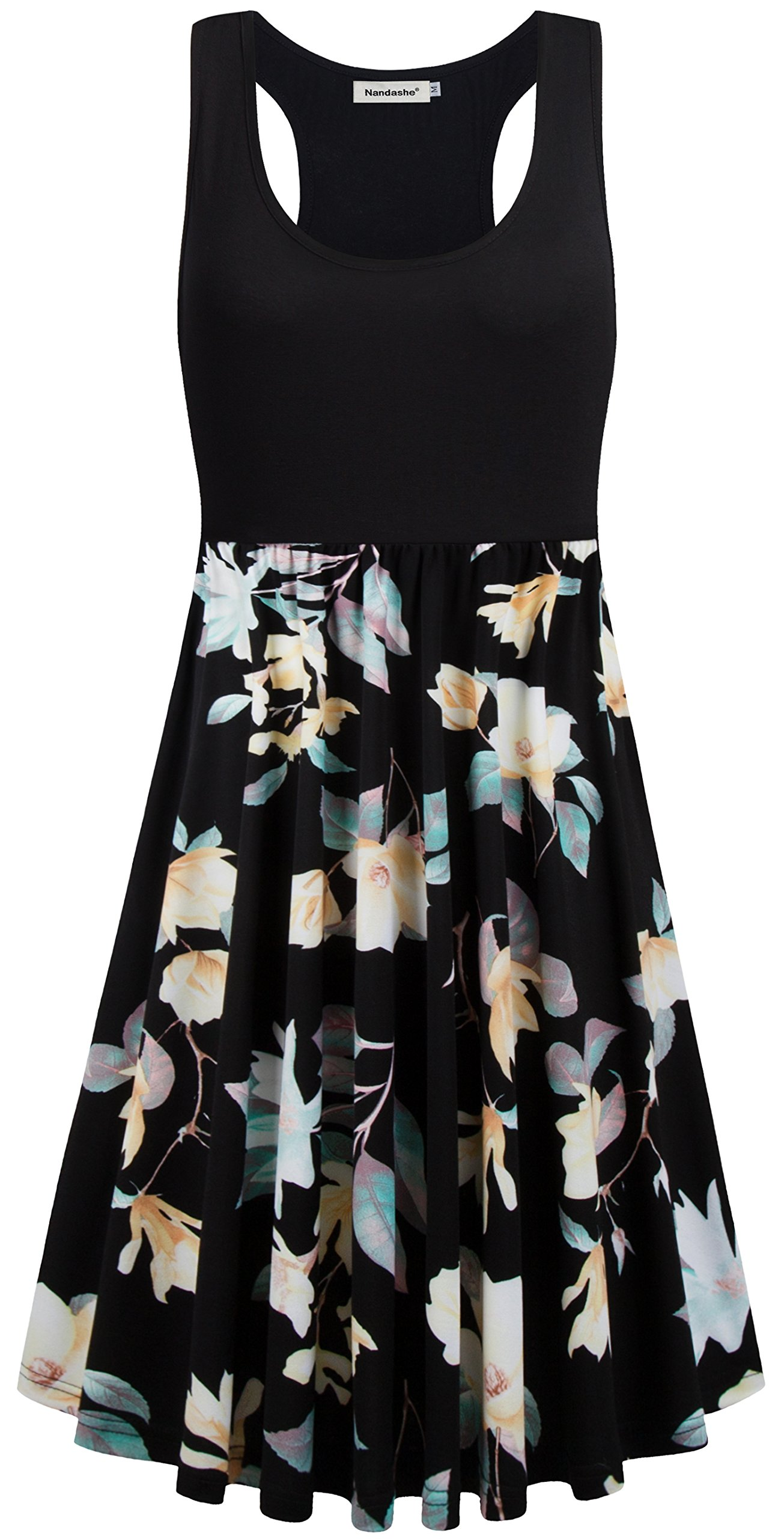 Nandashe Sleeveless Dresses for Women Plus Size, Womens Modest Colorful Flower Printed Loose Fitted Oversized Skate Flowy Wide Hem Company Business Sundress for Work Black Beige XL