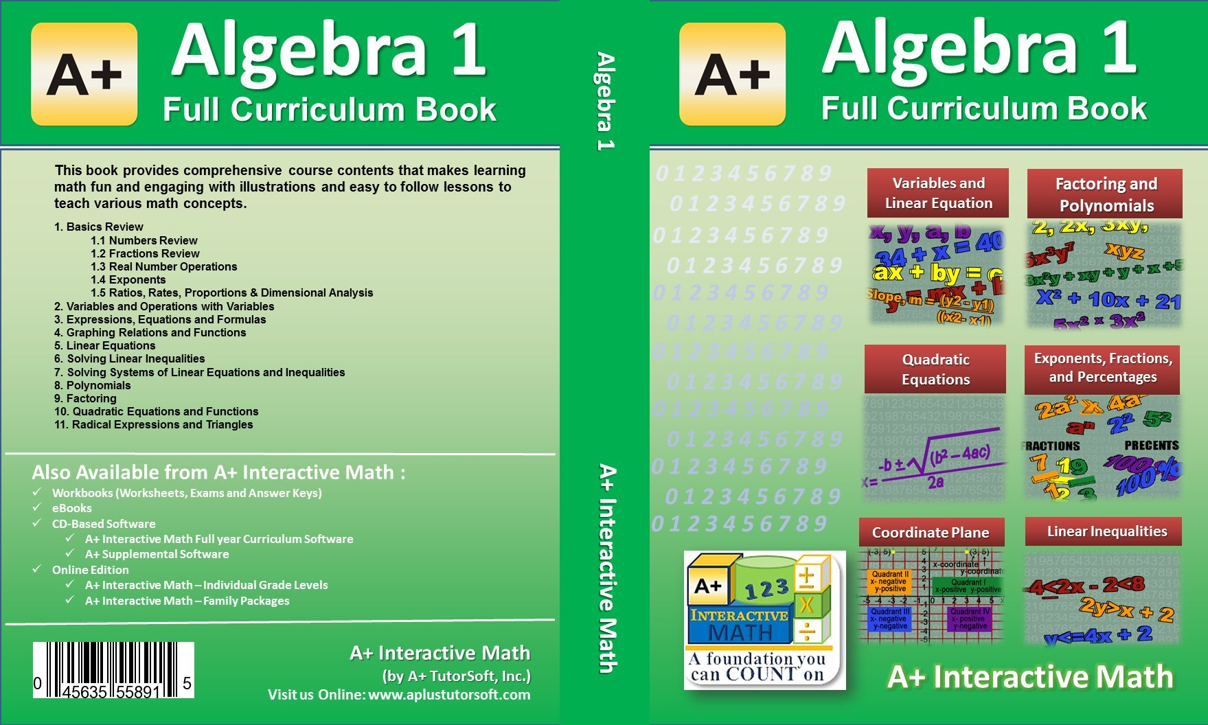 Algebra 1 (8th or 9th Grade) Math Textbook - 135 Lessons (598 Pages
