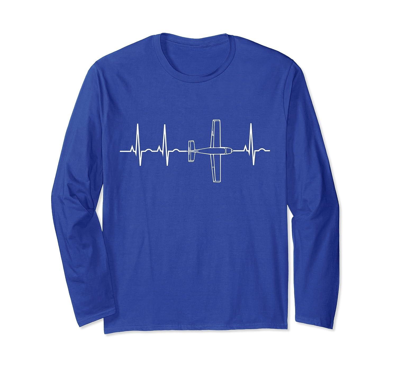 Airplane Pilot Long Sleeve Shirt Pilot Heartbeat T-Shirt-mt
