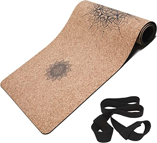 Masdery Cork Yoga Mat Non Slip Naturel Rubber 72 x 24 Body Line High Elasticity 4mm Thick Yoga Mat Upgraded Wear Resistant with Strap Eco Friendly Floor Exercises Portable Hot Yoga Pilates