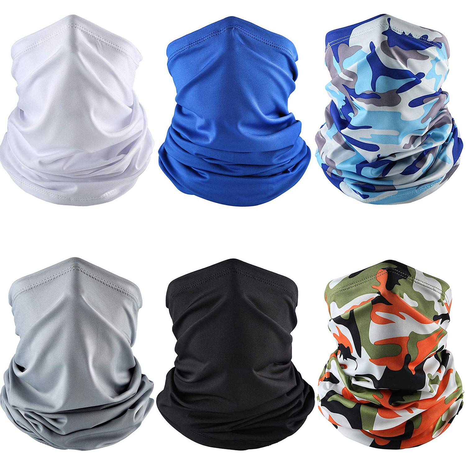 6 Pieces Summer UV Protection Face Mask Neck Gaiter Scarf Sunscreen Breathable Bandana (Color Set 2)