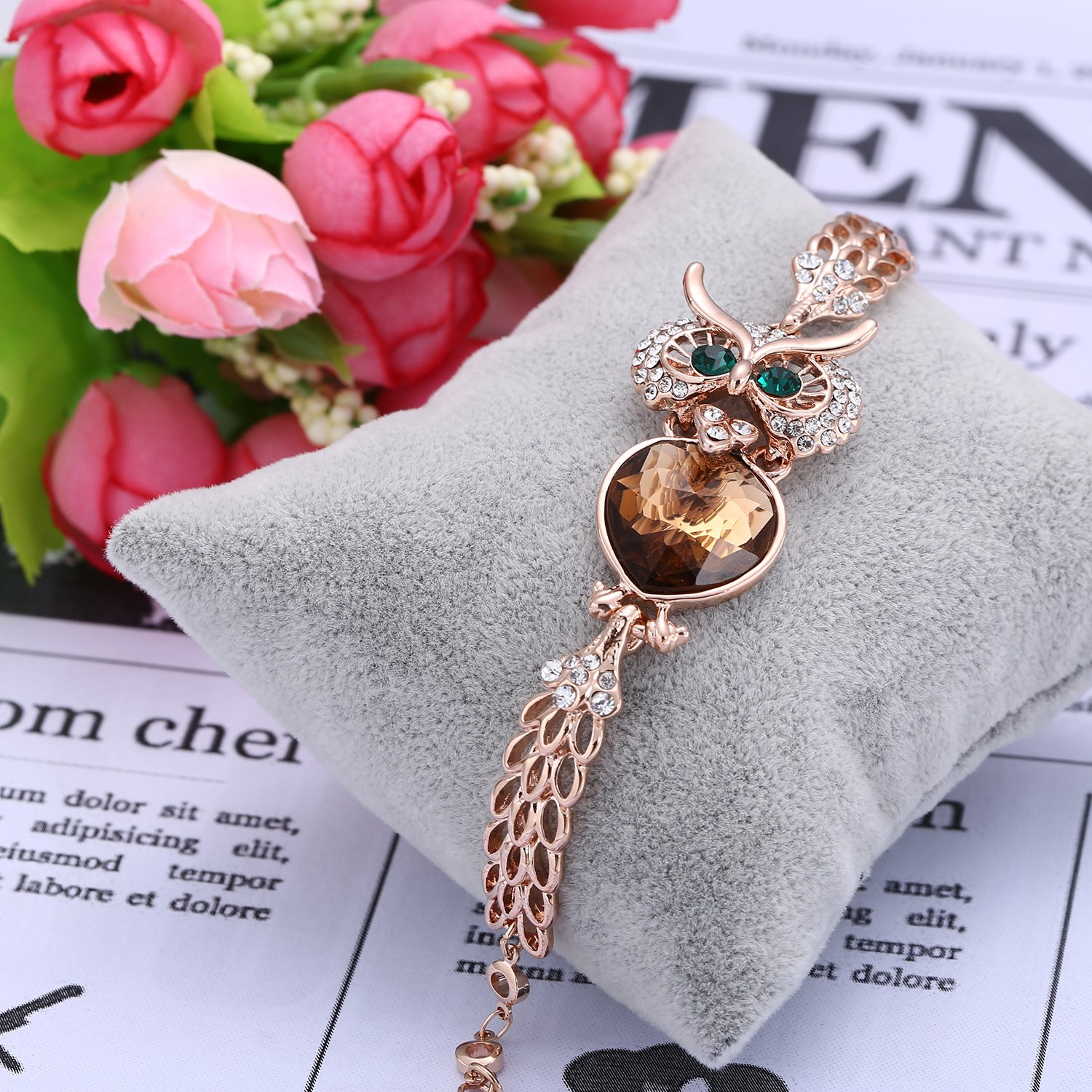 Menton Ezil Lucky Owl Bracelets With Turquoise Jewelry Charms Antique Golden Rhinestone Crystal for Womens Girls Gifts by Menton Ezil (Image #3)