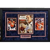 $199 » Peyton Manning Denver Broncos Signed Autograph Custom Framed Photo Suede Matting 18x26 Photograph Full SI Magazine Steiner Sports…