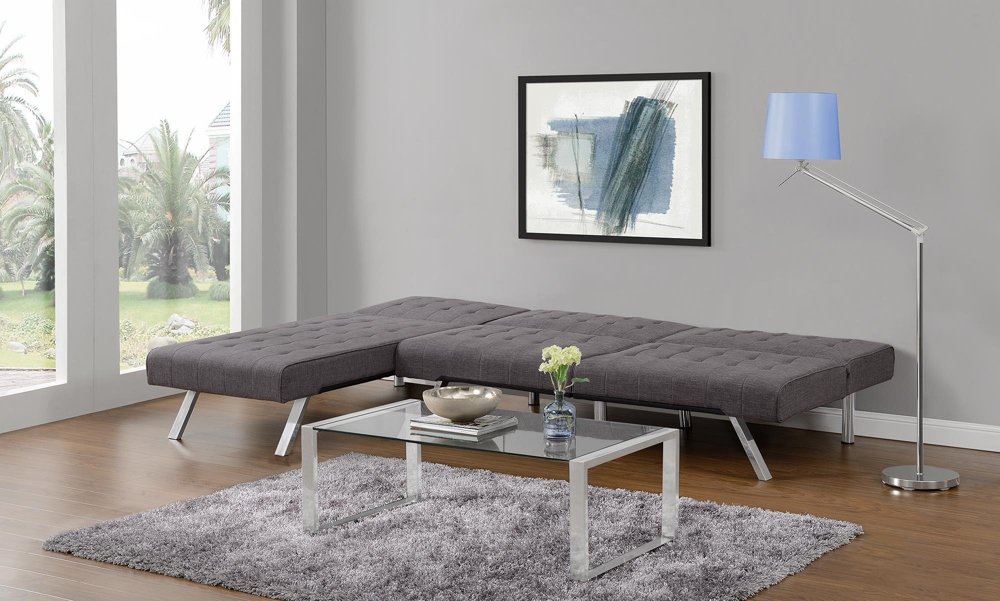 DHP Emily Linen Chaise Lounger, Stylish Design with Chrome Legs, Grey by DHP (Image #6)