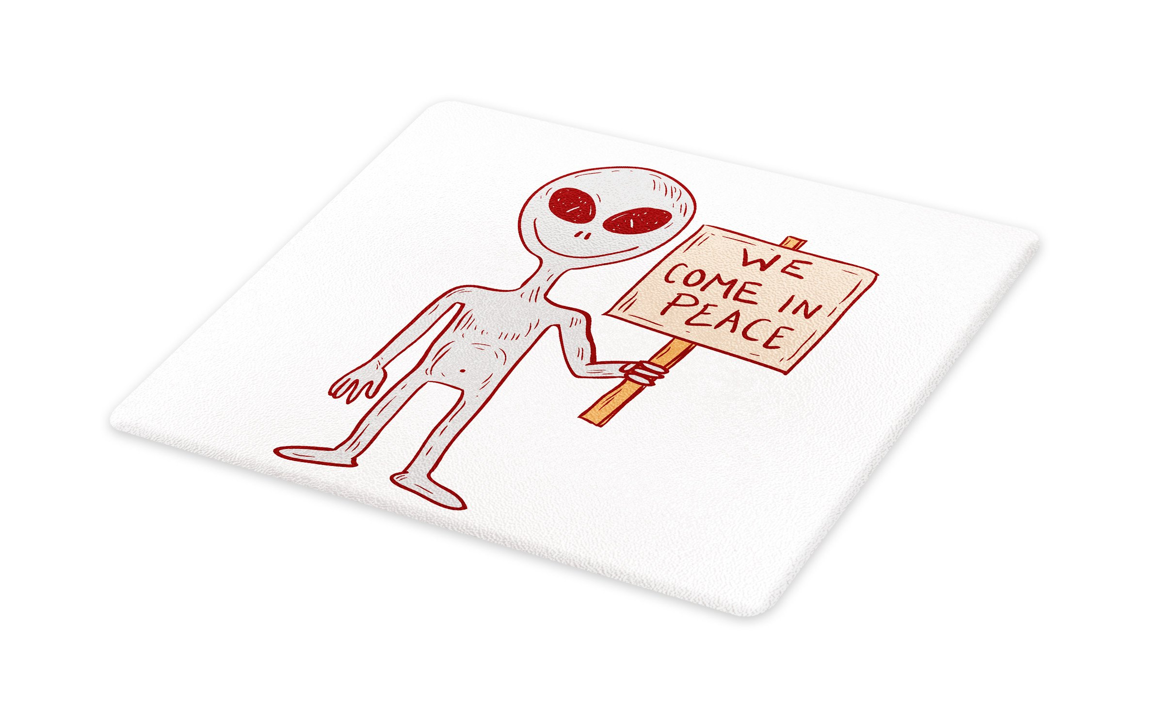 Lunarable Outer Space Cutting Board, Martian Creature with Peaceful Phrase Solar Revolution on Galaxy Print Image, Decorative Tempered Glass Cutting and Serving Board, Small Size, Grey Red