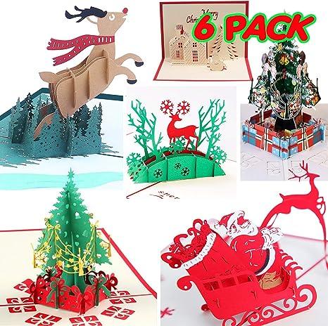 Amazon.com: Tarjetas de felicitación 3D de Navidad ...