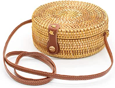 OUTLETNY Round Rattan Bag, Beach Straw Woven Crossbody Purse for Women, Handmade Shoulder Bag with Leather Strap & Snap Clasp (Leather buckle), Brown, Large