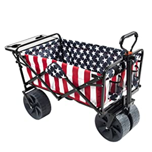 Mac Sports Collapsible Folding Outdoor Beach Wagon with Side Table, Perfect for Camping, Concerts, Sporting Events, The Beach, and More - American Flag Pattern
