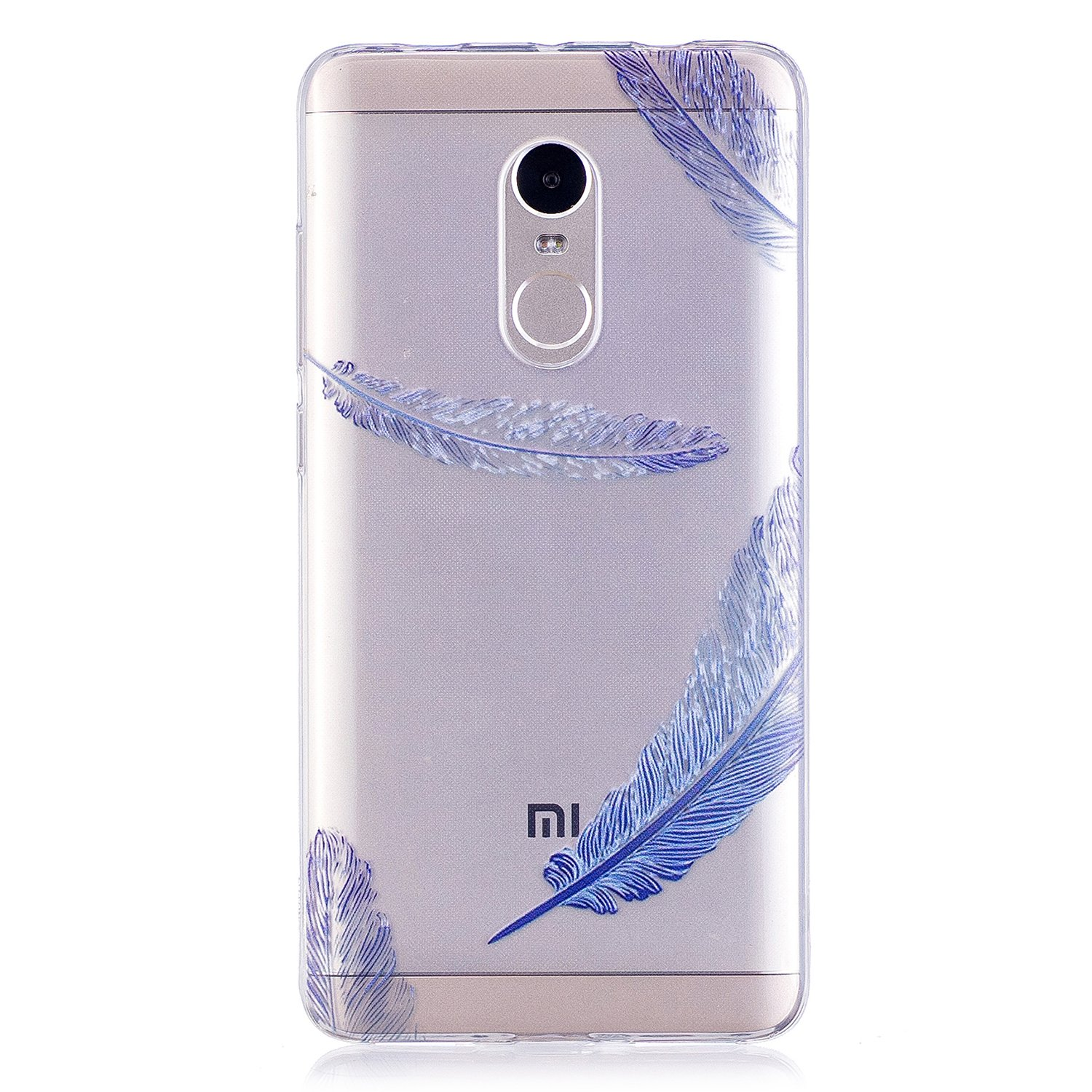 COZY HUT Custodia Xiaomi Redmi Note 4 Cover, Silicone Trasparente Morbida Clear Gel Caso, Ultra Slim Antiurto Anti-Graffio Bumper Case Cover per Xiaomi Redmi Note 4 - Piume Blu