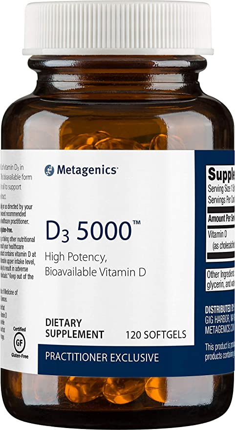 Metagenics D3 5000™ – Vitamin D Supplement 5,000 IU (325 mcg) – Support for Bone, Cardiovascular, and Immune Health*   120 softgels