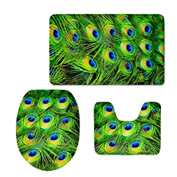 HUGS IDEA Green Peacock Bird Tail Feathers Pattern Bathroom Rug Set Includes Bath Mat Contour