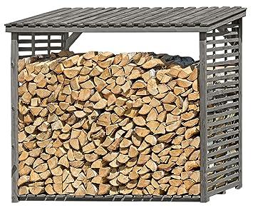 Gartenpirat Kaminholzregal Mit Ruckwand Fur 1 8 M Holz Grau 8 M