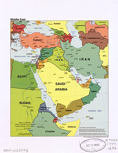 Amazoncom Map Poster Middle East 24 X 19 Posters Prints