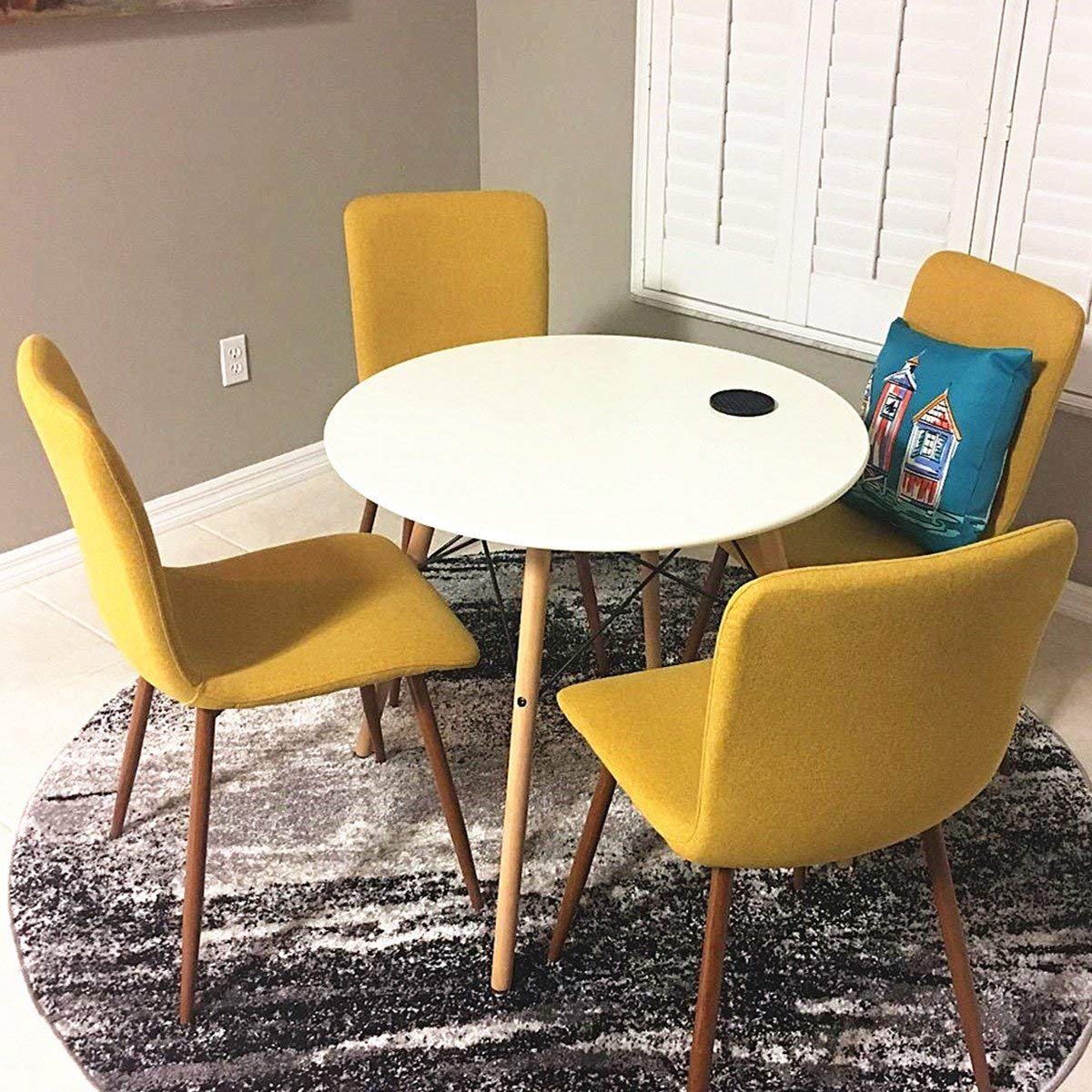 Coavas Set of 4 Dining Chairs Fabric Cushion Kitchen Side Chairs with Sturdy Metal Legs for Dining Room, Yellow by Coavas (Image #3)
