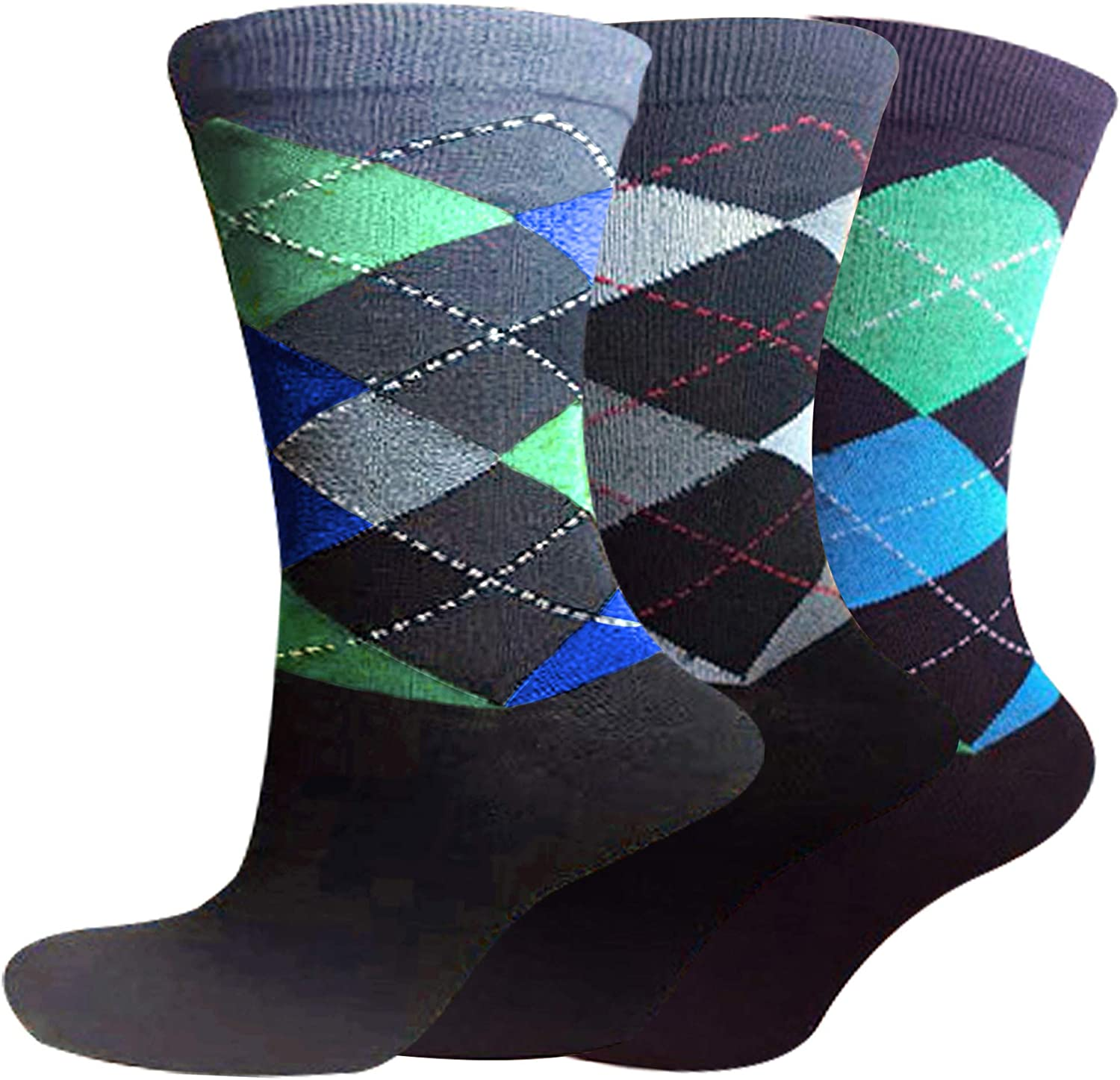 Crew Cotton Blend Socks Pack 6 Mens Pattern Dress Colorful Assorted Patterns Breathable