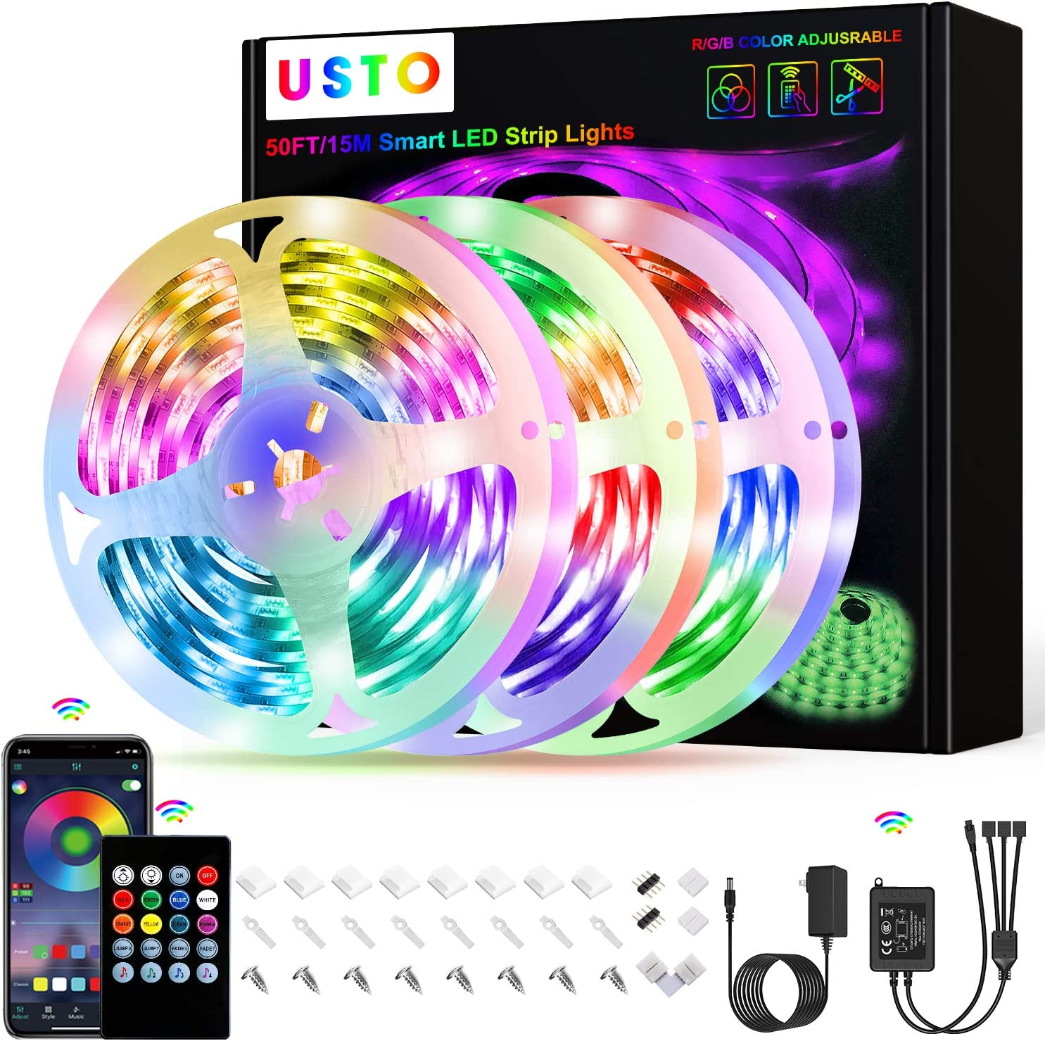 50ft Led Strip Lights, USTO Music Sync Color Changing Led Lights Strip, Led Tape Lights with Phone App and Remote, Led Lights for Bedroom,Living Room,Party