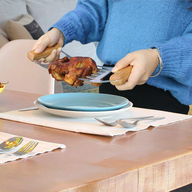 Fixget Carne Garras 2 Piezas Horquilla de Carne de Acero Inoxidable Garras de Carne con Mango de Madera Garra de Oso