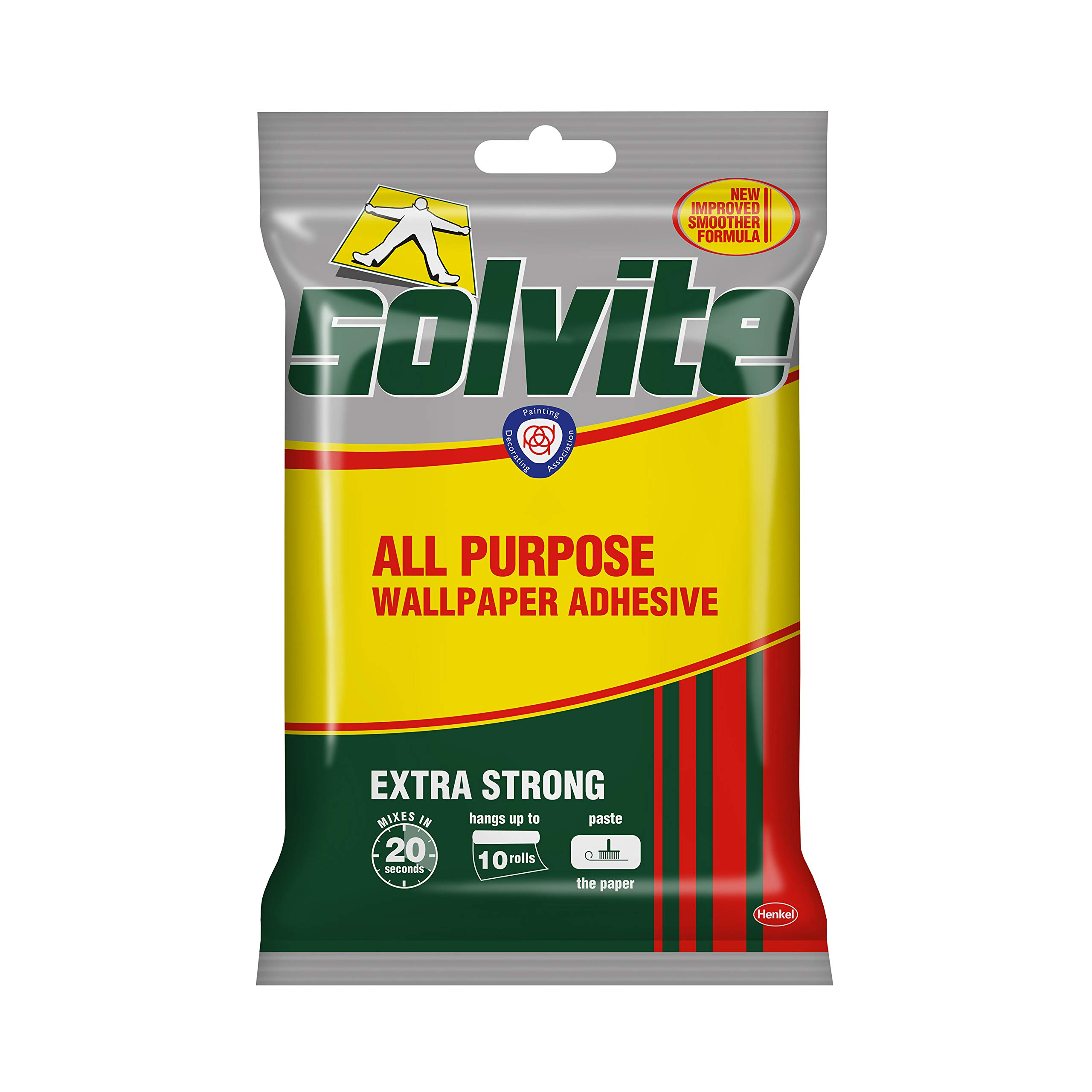 Solvite All-Purpose Wallpaper Adhesive, Reliable Adhesive for Wallpaper, All-Purpose Adhesive with Long-Lasting Results, Wallpaper Paste Hangs Upto 10 Rolls (1 x 185 g Sachet)