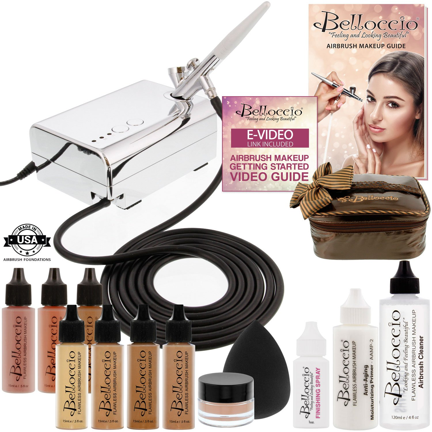 Belloccio Professional Beauty Deluxe Airbrush Cosmetic Makeup System with 5 Dark Shades of Foundation in 1/2 oz Bottles - Kit includes Blush, Bronzer and Highlighter and 3 Free Bonus Items, Video Link KIT-DLX-DARK5