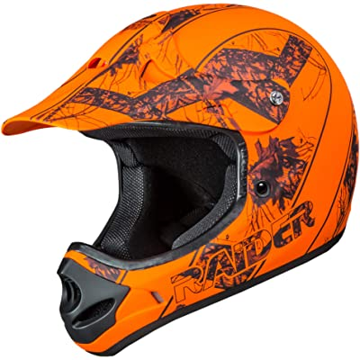 Raider Ambush Mossy Oak Unisex-Adult MX Off-Road Helmet (Blaze Orange Break-Up Infinity Camo, Large): Automotive