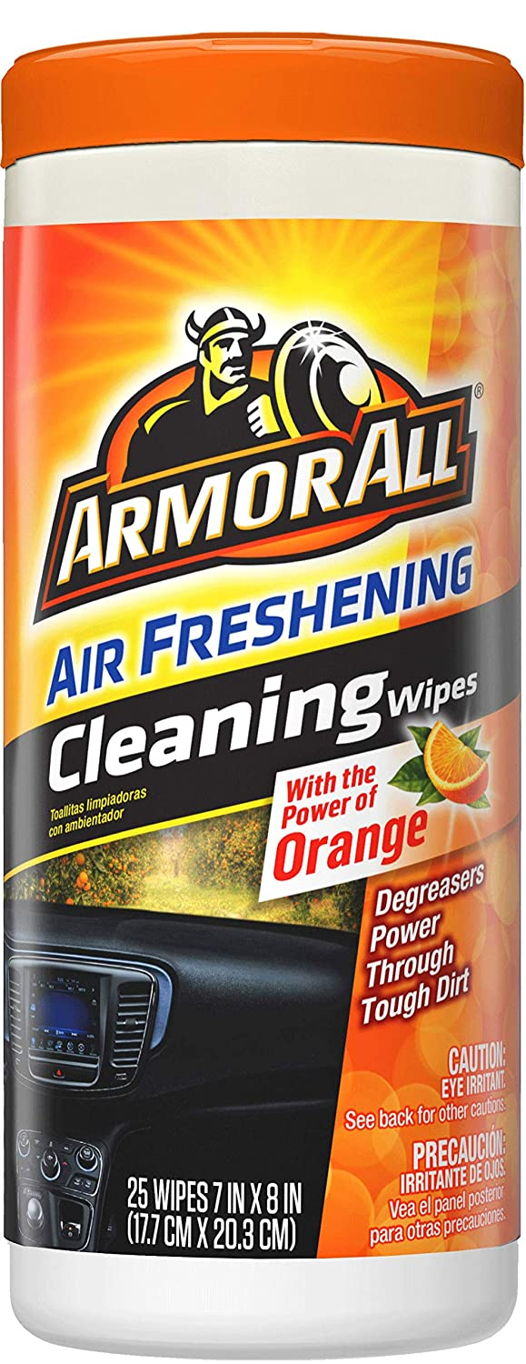 Armor All 10831 Air Freshening Cleaning Wipes, Orange Scent, 25 Pack