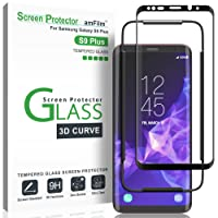 Galaxy S9 Plus Screen Protector Glass, amFilm Full Cover (3D Curved) Tempered Glass Screen Protector with Dot Matrix for Samsung Galaxy S9 Plus (1 Pack, Black)