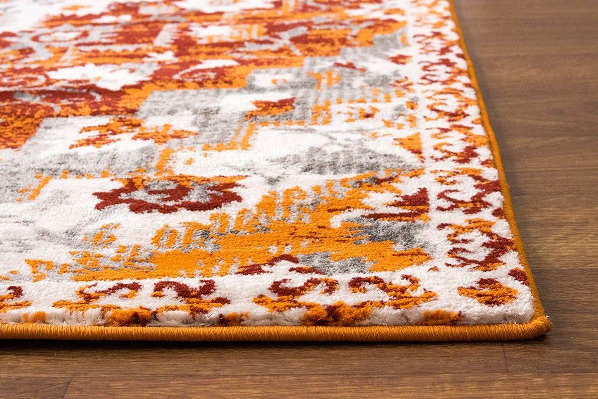 """8 x 10 Area Rug Burnt Orange Southwestern Diamond Rug for Living Room Dining Room Bedroom Transitional Vintage Distressed Design [ 7 10"""" X 9 10""""]"""