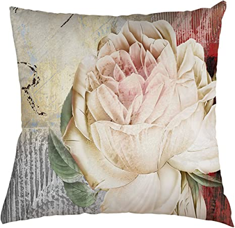Amazon Com Flower Throw Pillow Cover Beautiful Flower Pink Rose Retro Background For Couch Sofa Bed Car Seats Home Decorative Throw Pillow Case 22 X22 Home Kitchen