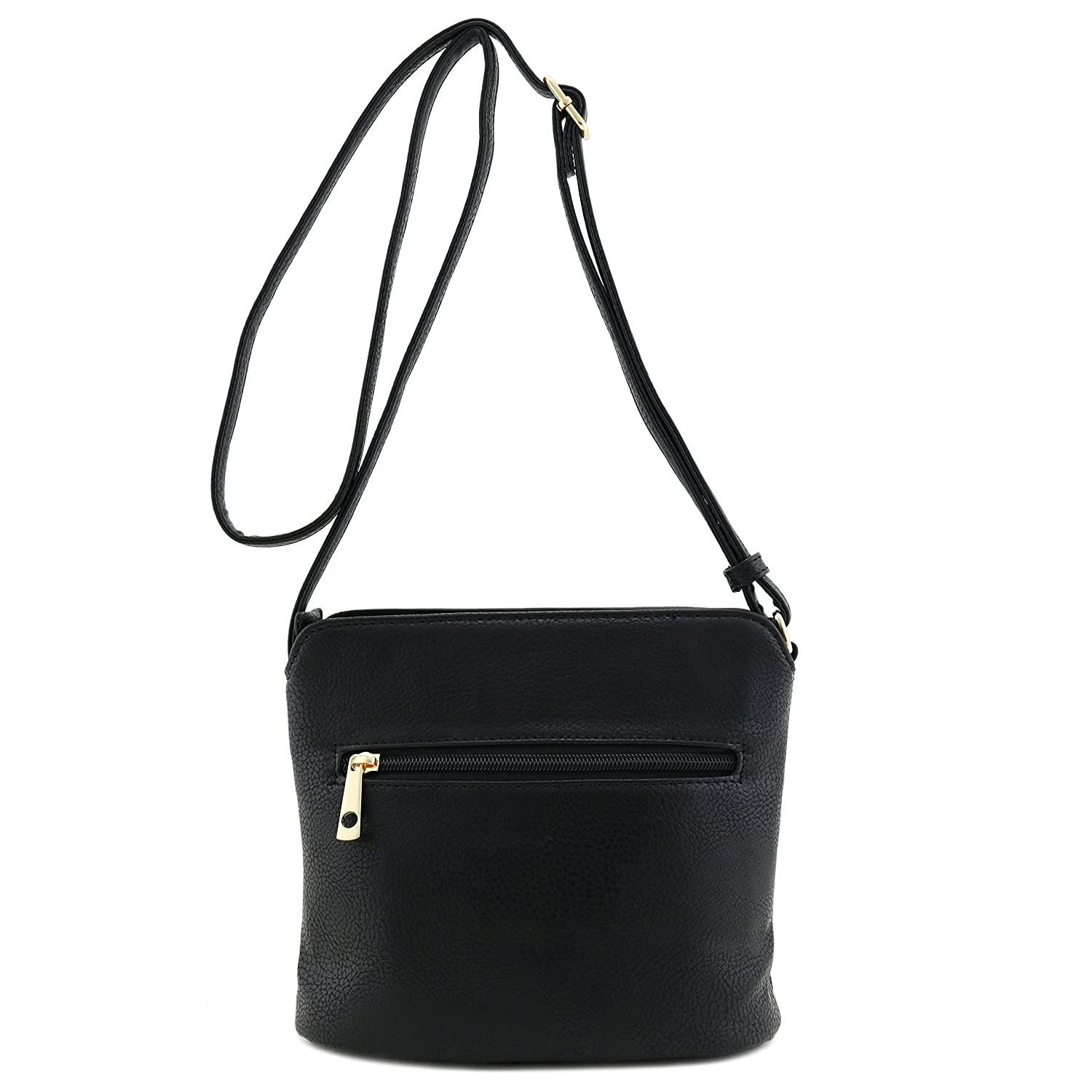 011be14c5760 Tassel Accent Small Crossbody Bag with Emblem Black  Handbags  Amazon.com