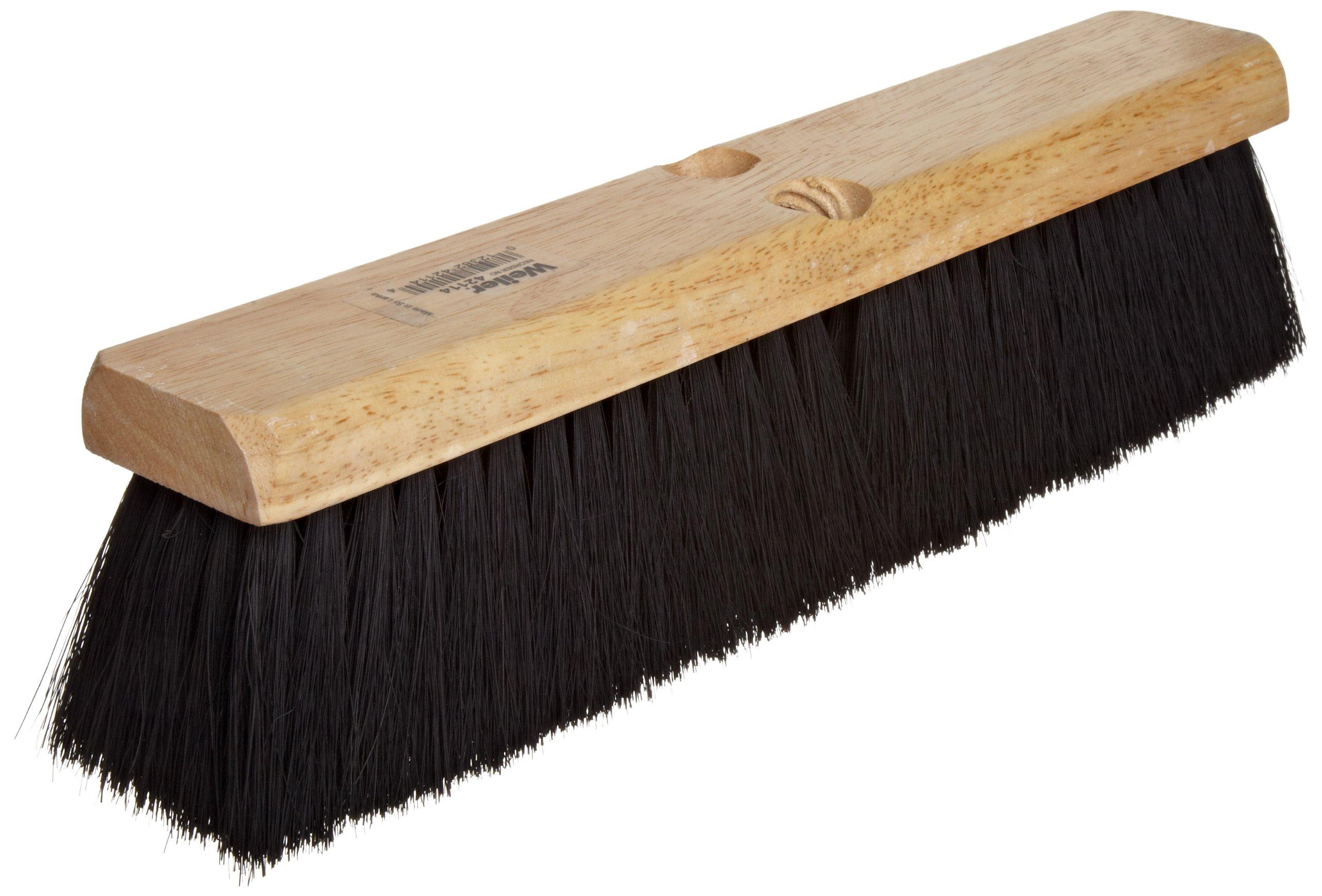 Weiler 25231 Tampico Fiber Medium Sweep Floor Brush with Wood Handle, 2-1/2'' Handle Width, 18'' Overall Length, Natural