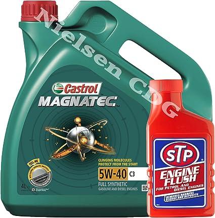 Castrol MAGNATEC 5 W-40 C3 Totalmente Aceite sintético de motor A3/B4=4 L & Stp Motor Flush: Amazon.es: Coche y moto