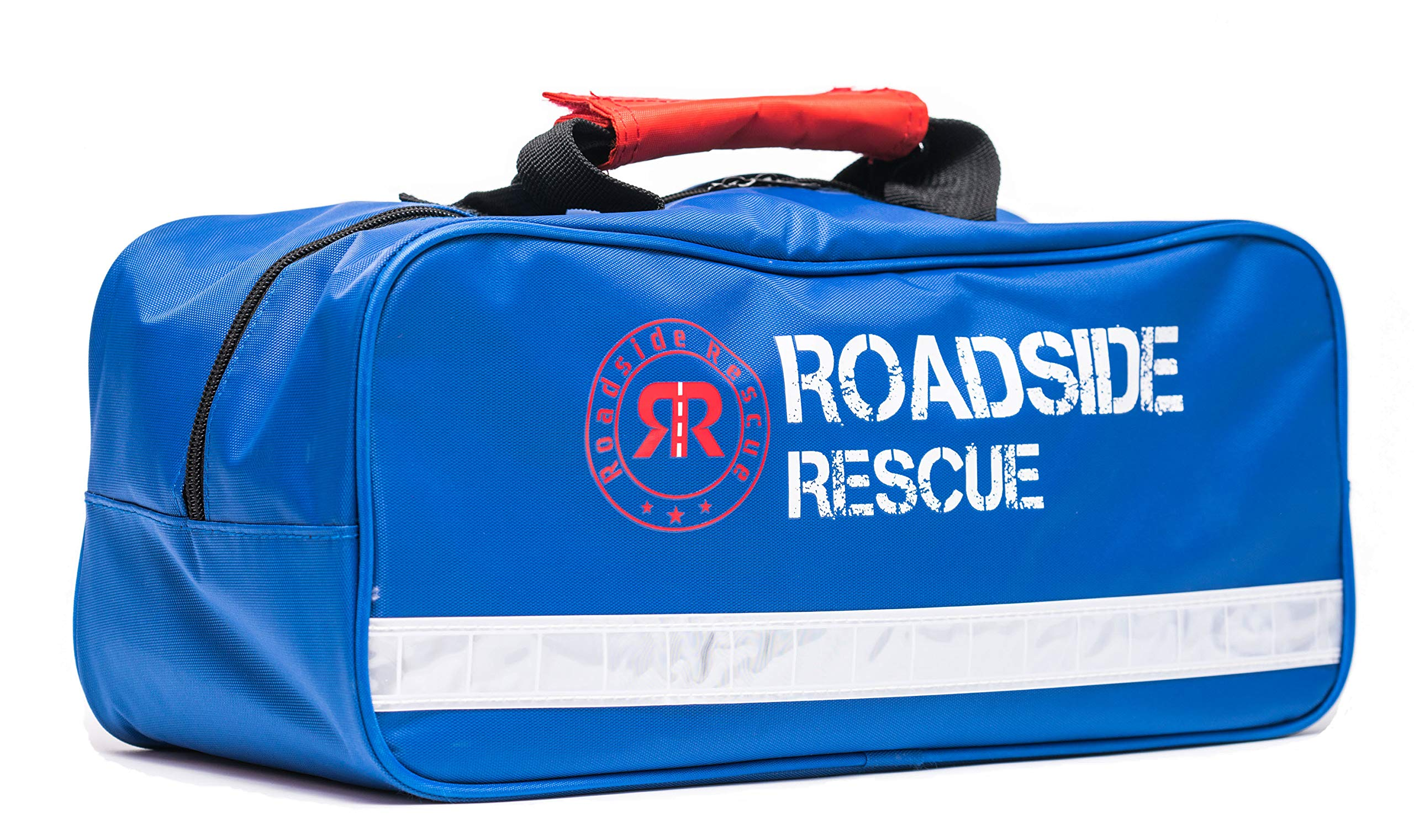 Roadside Emergency Assistance Kit - Packed 110 Premium Pieces & Rugged Bag - Car, Truck & RV Kit with Heavy Duty Jumper Cables • Heavy Duty Tow Strap • Safety Triangle • First Aid & more by Roadside Rescue Emergency Assistance Kits