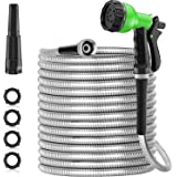 SPECILITE 50ft 304 Stainless Steel Metal Garden Hose, Heavy Duty Water Hoses with 10 Pattern Spray Nozzle for Yard, Outdoor -