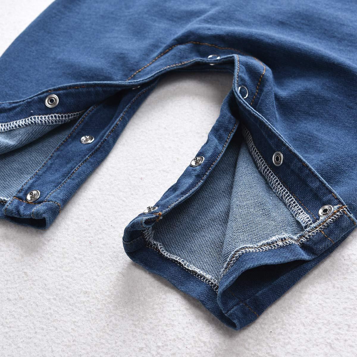 puseky Kids Baby Turn Down Collar Romper Jeans Body de Manga Larga Denim Jumpsuit