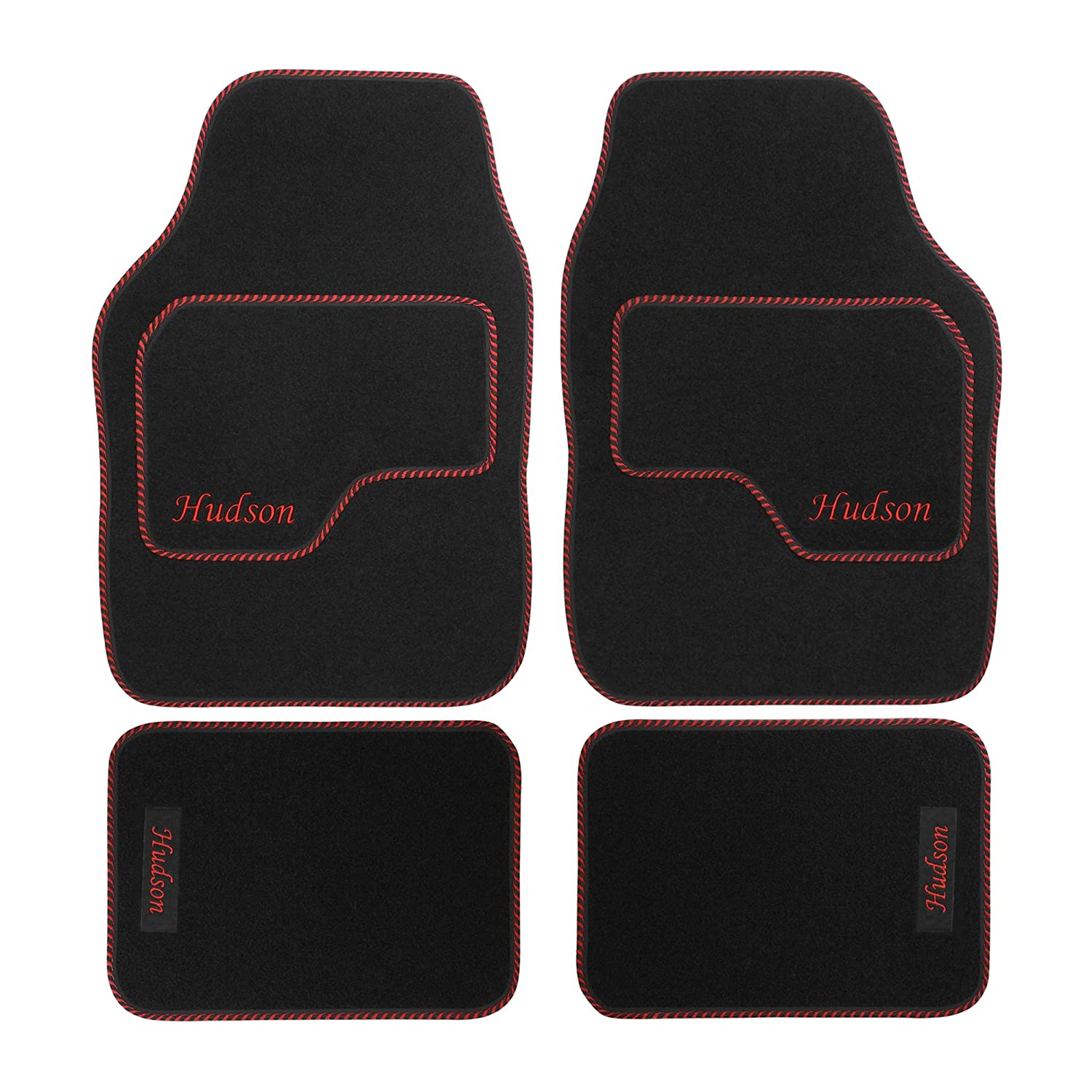 JVL Personalised Universal Black Carpet Car Mat Set with Red Embroidered Drivers Mat